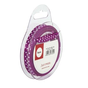 Ruban de Satin Pointillé Rayher - 10m X 9,5mm - rouge lilas