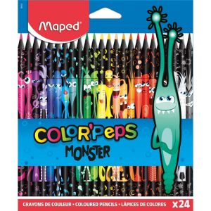 24 Crayons de Couleur Maped black monster