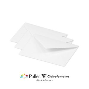 20 Enveloppes Pollen Clairefontaine - 75x100 mm - blanc