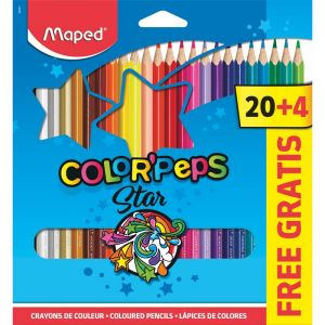 24 Crayons de Couleur Maped Color Pep's Star