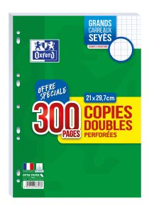 300 Copies Doubles Oxford - A4 - Séyès - perforées - blanc