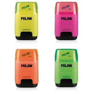 Taille-Crayon double + gomme Milan