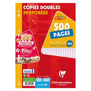 Copies Doubles Clairefontaine - A4 - 500 pages - Séyès - perforées - blanc