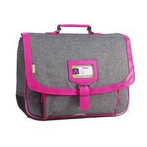 Cartable Tann's 38 cm - gris chiné-rose