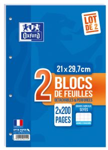 Lot de 2 Blocs-Notes Oxford - A4 - 2x200 pages perforées - Séyès