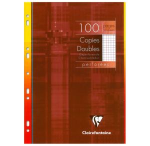 Copies Doubles Clairefontaine - A4 - 100 pages - petits carreaux + marge - blanc
