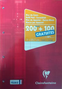 Bloc cours Clairefontaine - A4 - 300 pages - ligné + marge - blanc