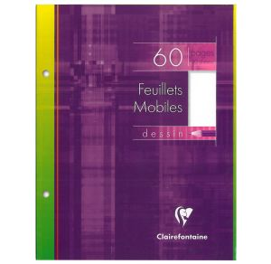 Feuilles Simples Clairefontaine - 17x22 cm - 60 pages - Dessin blanc