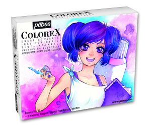 Coffret Encre Aquarelle Colorex Pébéo - 10X20 ml - manga
