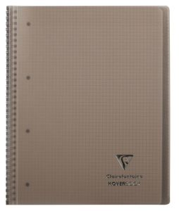 Cahier Clairefontaine Koverbook - A4+ - 160 pages - petits carreaux - gris