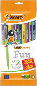 Lot de 10 Porte-mines Bic matic - 0,7mm - HB - couleurs fun