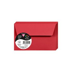 20 Enveloppes Pollen Clairefontaine - 90x140 mm - rouge groseille