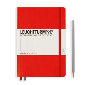 Carnet Leuchtturm rigide - 14,5x21cm - Rouge - Pages blanches