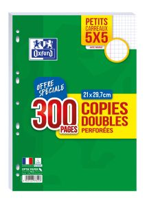 300 Copies Doubles Oxford - A4 - petits carreaux - perforées - blanc