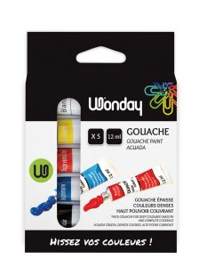 Boite de 5 tubes de gouache Wonday - 5x12 ml