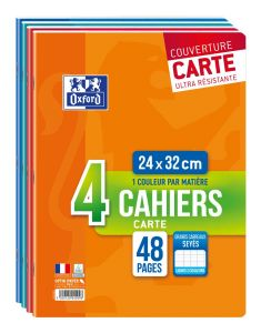 Lot de 4 Cahiers Oxford - 24x32 cm - 48 pages - grand carreaux