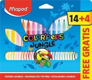 18 Feutres Maped color pep's jungle
