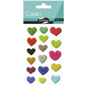 Stickers Cooky Maildor - coeurs motifs