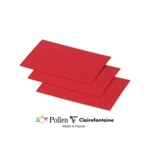 25 Cartes Pollen Clairefontaine - 70x95 mm - rouge groseille