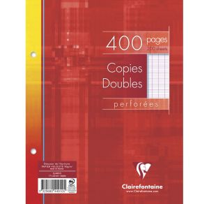 Copies Doubles Clairefontaine - 17x22 cm - 400 pages - Séyès - blanc