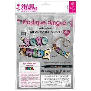 Kit Plastique Dingue Graine Créative - alphabet graff Posca